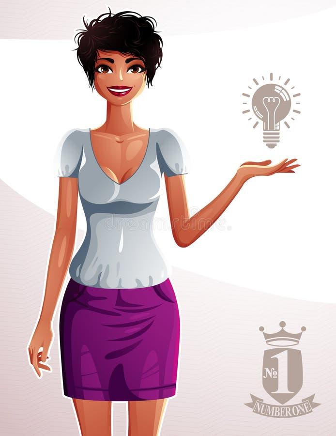 Härlig brunbränd kvinna, hellång stående Färgrik teckningsnolla royaltyfri illustrationer