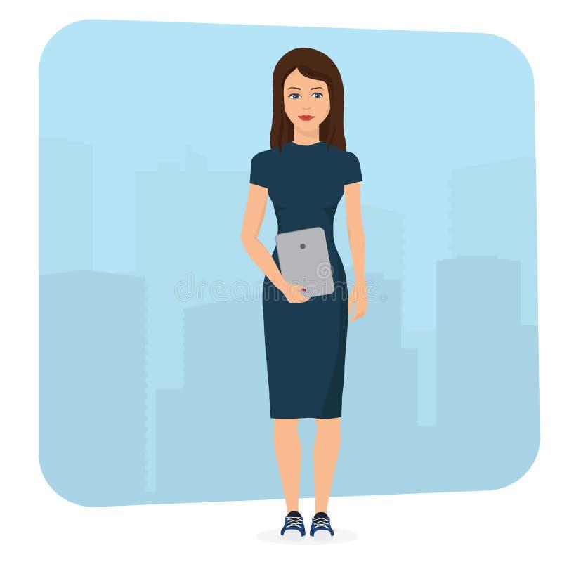 Härlig brunettaffärskvinna som använder dator för minnestavla för handlagblock en bärbar stock illustrationer
