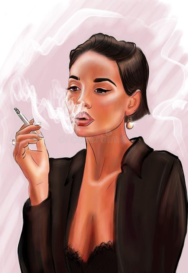 Härlig brunettflicka med en cigarett royaltyfri illustrationer