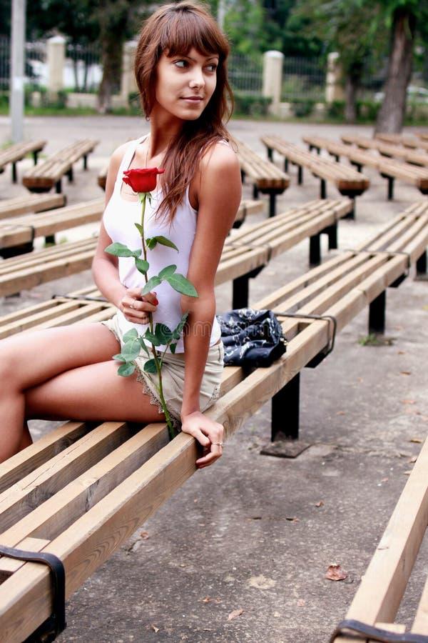 Härlig brunettflicka med knoppen av rosen royaltyfri foto