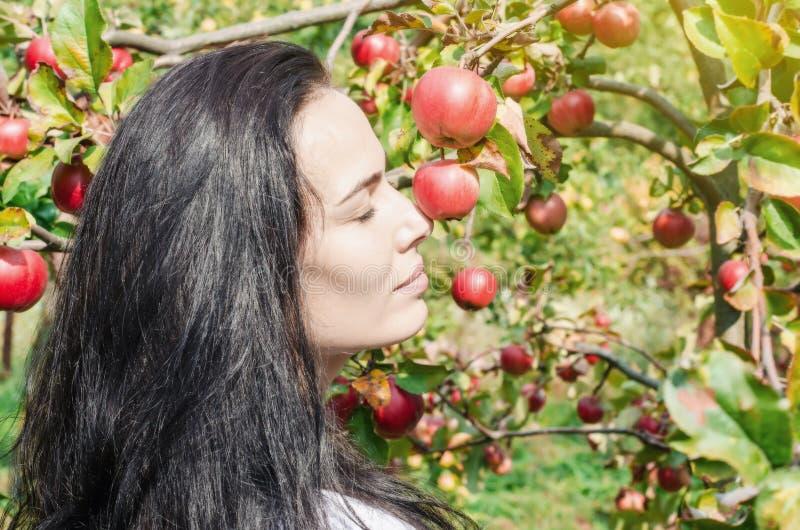 Härlig brunettflicka, stående på bakgrund av äppleträd b arkivbild