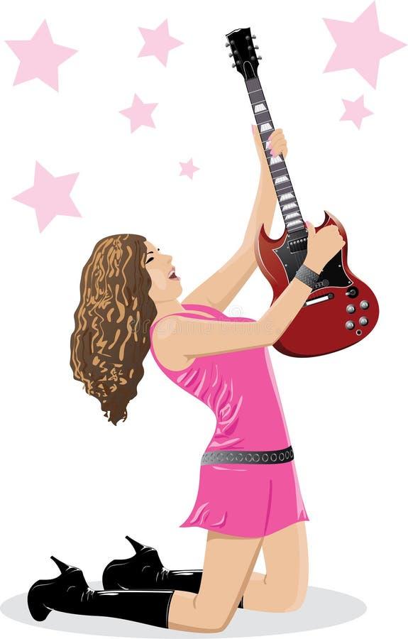 härlig brunettgitarr stock illustrationer