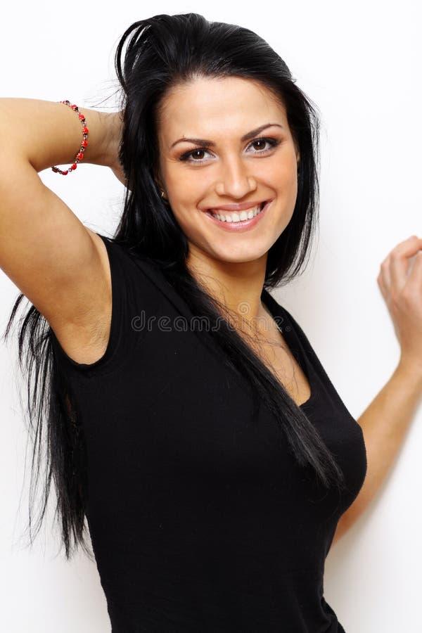 härlig brunettkvinna royaltyfri foto