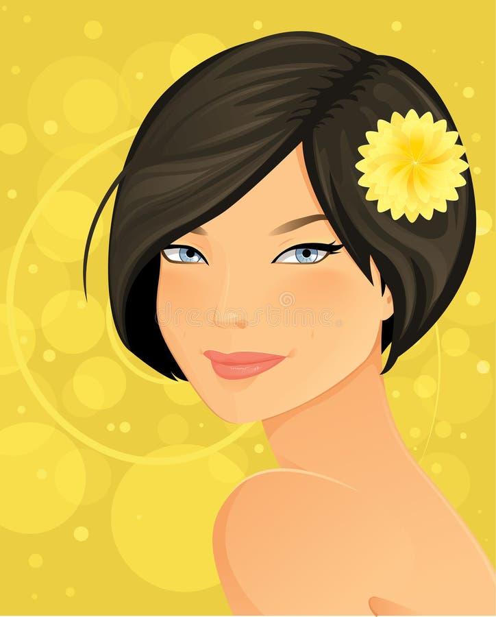 Härlig brunettkvinna royaltyfri illustrationer
