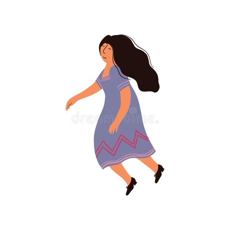 Härlig brunettkvinna med för lilaklänning för långt hår den bärande illustrationen för vektor stock illustrationer