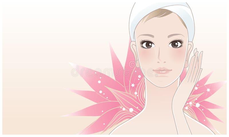 Härlig brunnsortkvinna med lotusblomma royaltyfri illustrationer