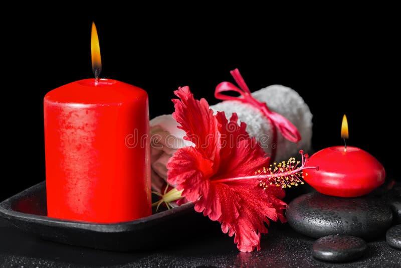 Härlig brunnsortstilleben av den röda hibiskusblomman med dagg, stearinljus royaltyfria foton