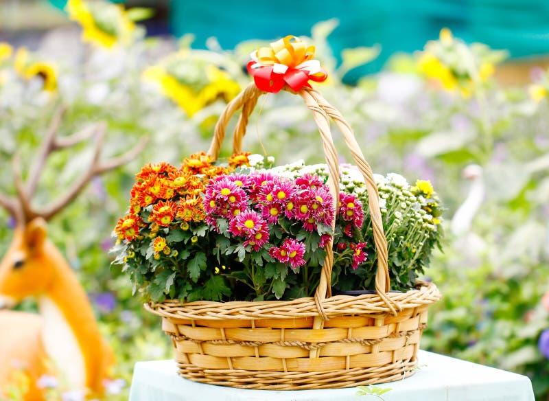 Härlig bukett av ljusa blommor i korg på trätabellen royaltyfria foton
