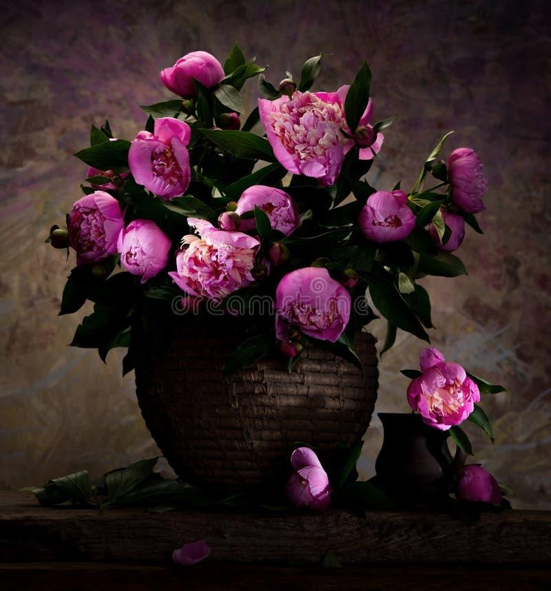 Härlig bukett av rosa pioner arkivfoton