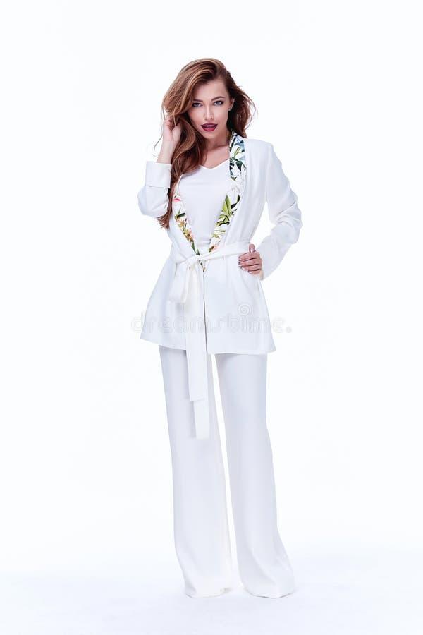 Härlig busin för modell för glamour för samling för höst för kvinnadamvår royaltyfri bild