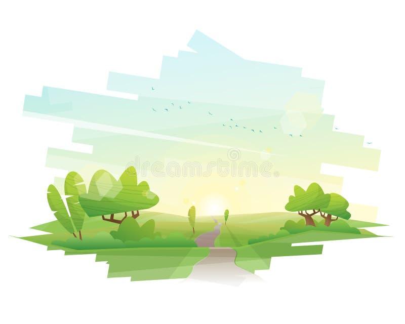 Härlig bygdbakgrund med landskap för morgongräsplanfält vektor illustrationer