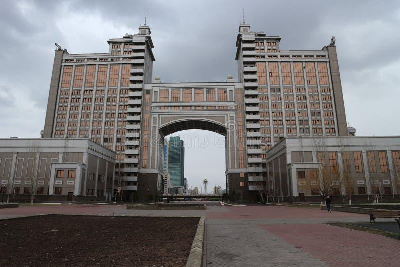 Härlig byggnad av departementet i Astana royaltyfri bild