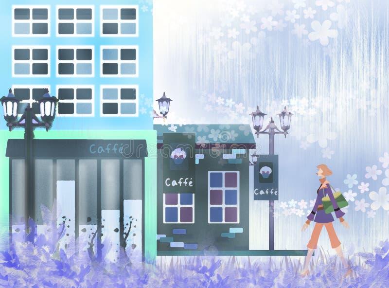 härlig cafe stock illustrationer