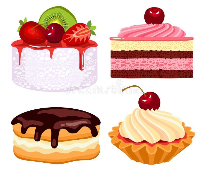 härlig cakessamling stock illustrationer