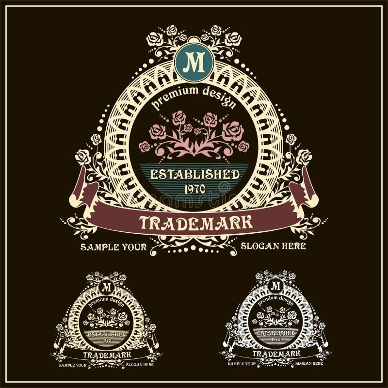 Härlig calligraphic monogramemblemmall stock illustrationer