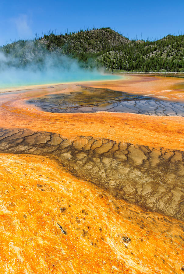 Härlig cerulean geyser som omges av färgrika lager av bakterier, mot molnig blå himmel arkivfoto