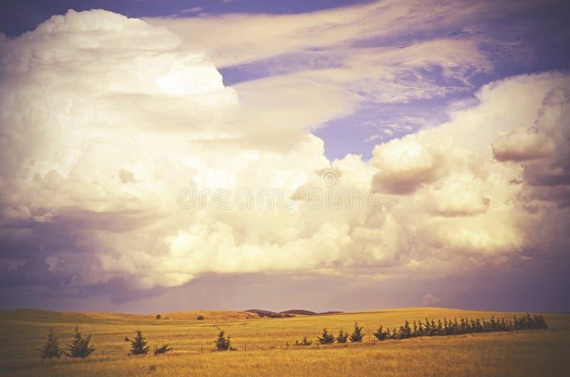 Härlig cloudscape över träd-fodrade kullar royaltyfri fotografi