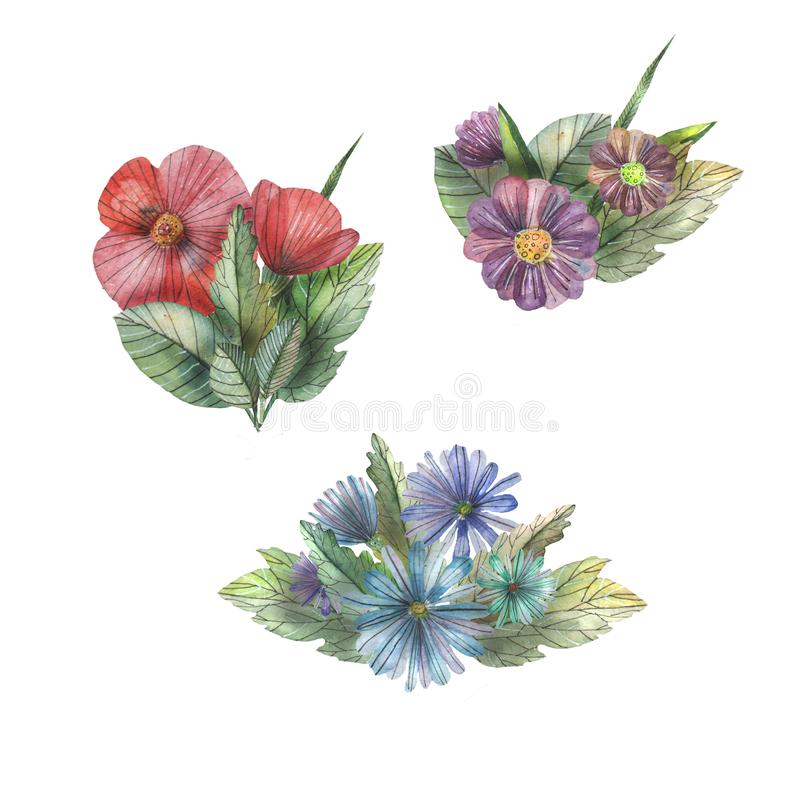 Härlig compozition med blommor och sidor royaltyfri fotografi