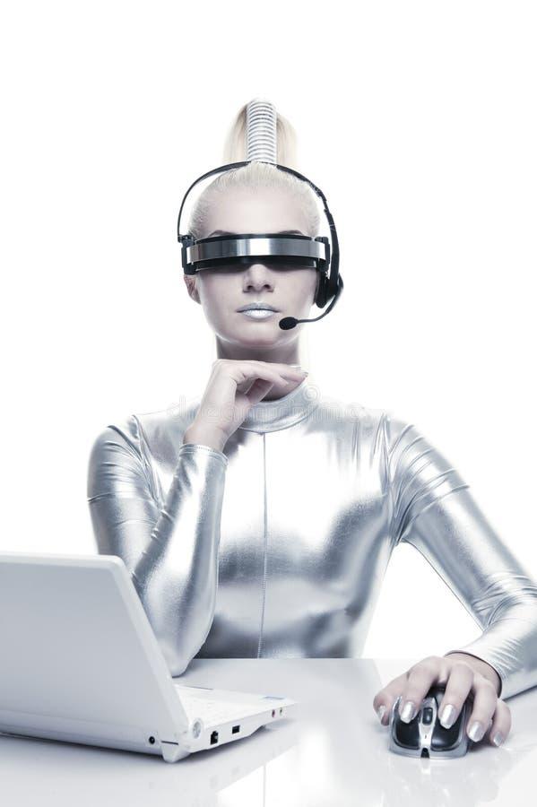 härlig cyberkvinna royaltyfri foto