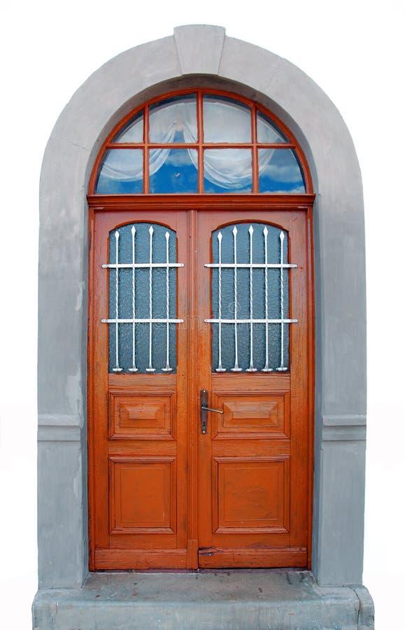 härlig dörr isolerad gammal white arkivbild