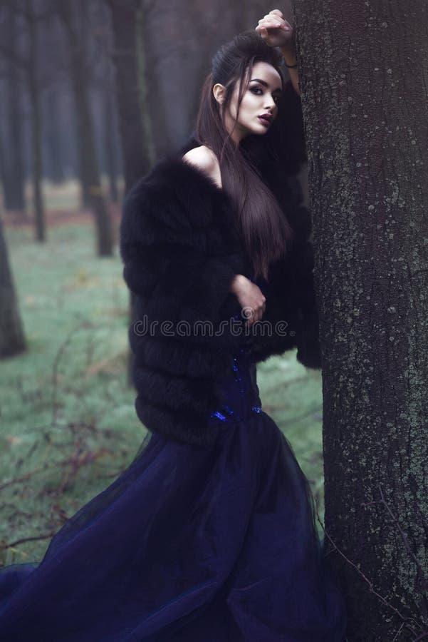 Härlig dam i lyxig paljettaftonklänning och svart anseende för pälslag i de mystiska dimmiga träna royaltyfri bild
