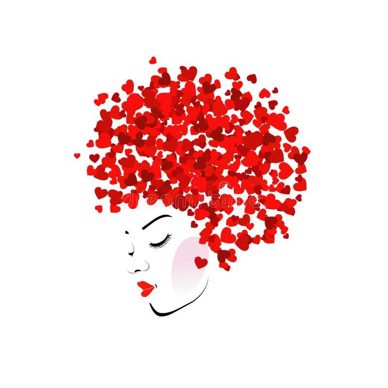 Härlig dam med den abstrakta frisyren stock illustrationer