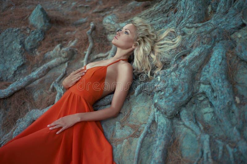 Härlig dam och väldigt träd fotografering för bildbyråer
