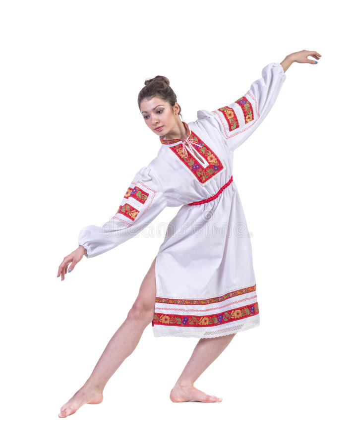 Härlig dansflicka i ukrainarepolermedel fotografering för bildbyråer