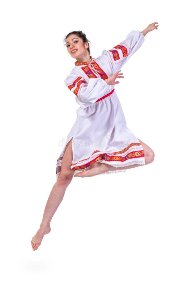 Härlig dansflicka i ukrainarepolermedel arkivfoton