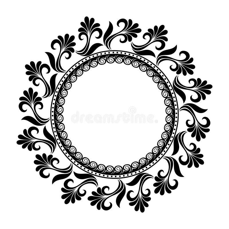 Härlig Deco blom- cirkel (vektorn) stock illustrationer