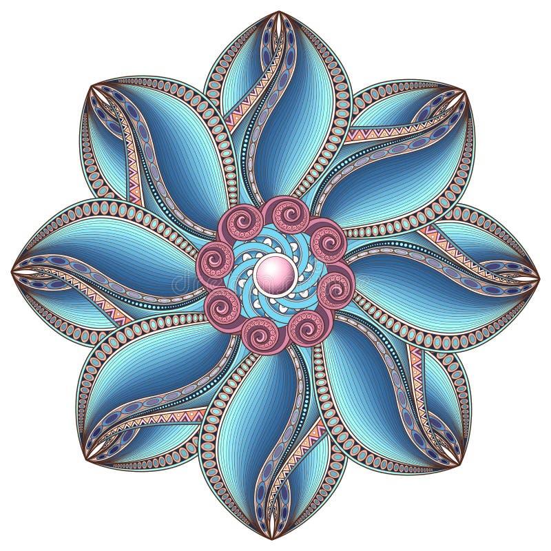 Härlig Deco färgad konturMandala för vektor royaltyfri illustrationer