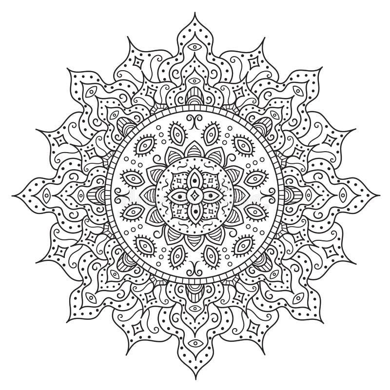 Härlig Deco Mandala Tappningrundaprydnad stock illustrationer
