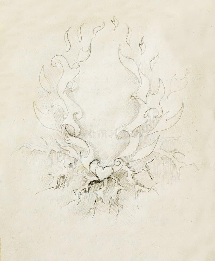 Härlig dekorativ blyertspennateckning på gammalt papper Hjärta och brand med exponeringen royaltyfri illustrationer