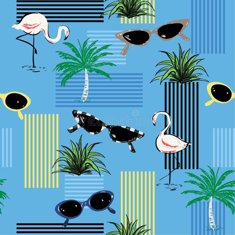 Härlig dekorativ sömlös modell med dendrog flamingo, p vektor illustrationer