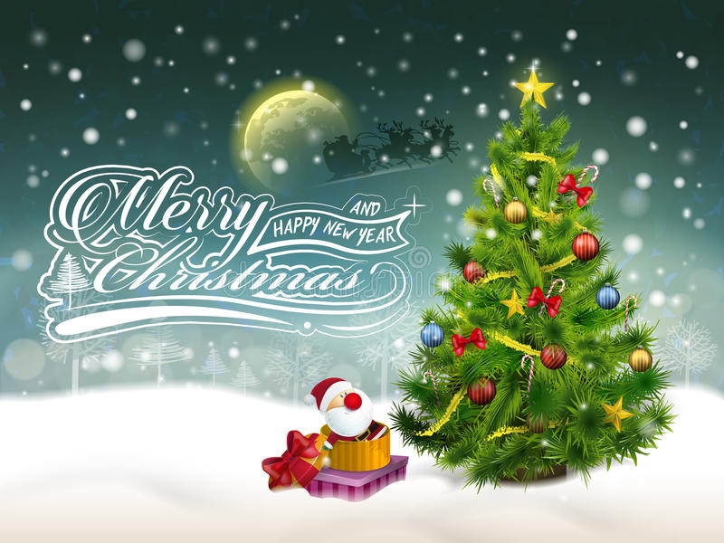 Härlig dekorerad julgran och gåvor vektor illustrationer