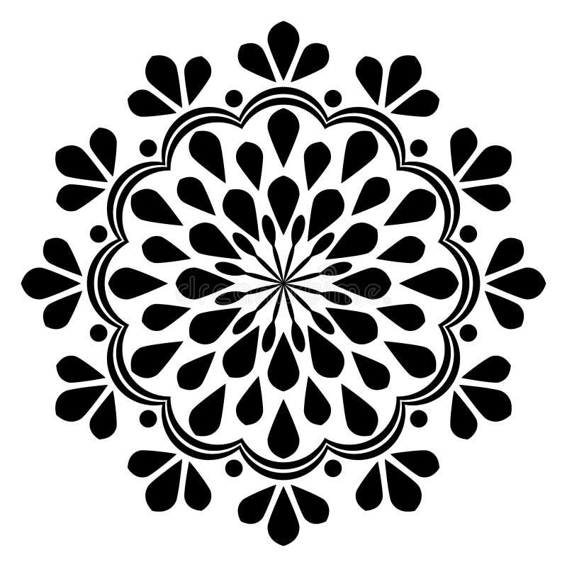 Härlig dekorMandala för abstrakt svartvit tappning vektor illustrationer