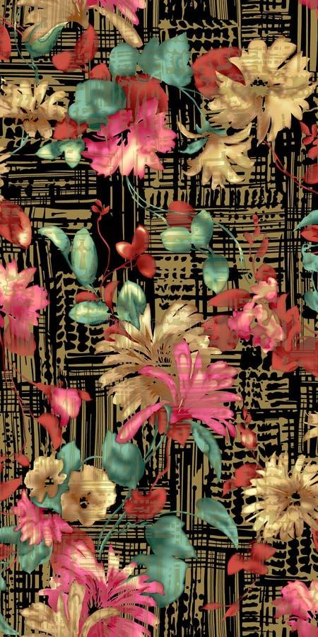 Härlig design för textiltryckbakgrund med blommor royaltyfri illustrationer