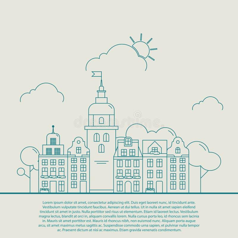 Härlig detaljerad linjär cityscape med olika radradhus, liten stadgata med byggnadsfasader gör linjen tunnare stock illustrationer