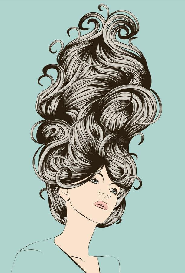 härlig detaljerad skraj hårkvinna royaltyfri illustrationer