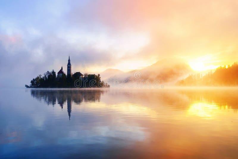 Härlig dimmig soluppgång den blödde sjön på höst arkivfoton