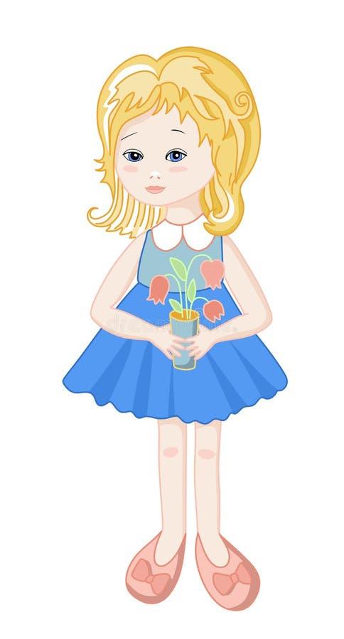 Härlig docka med blommor royaltyfri illustrationer