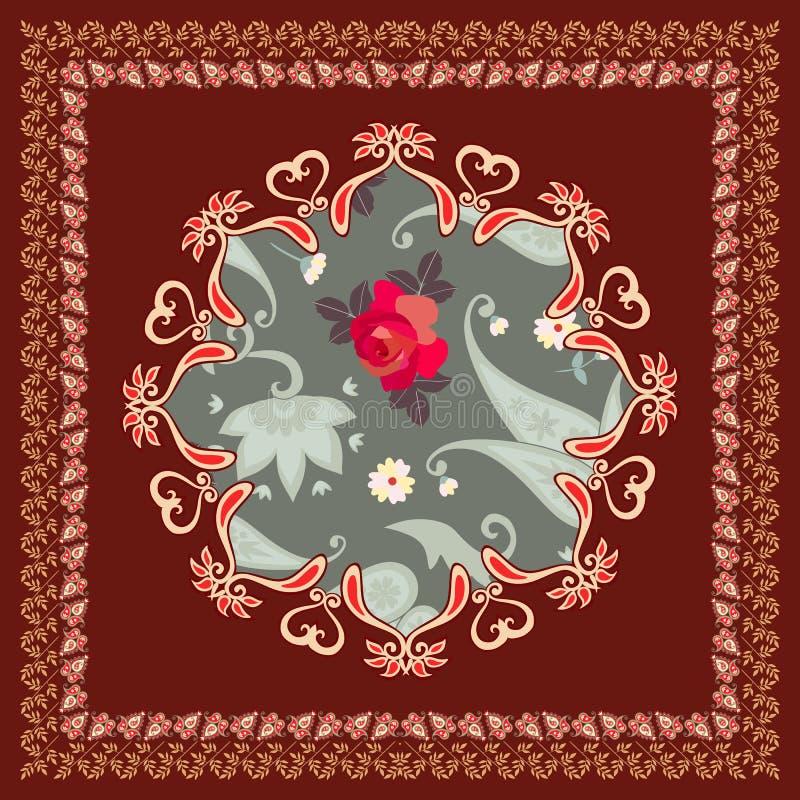Härlig doily eller örngott med den stiliserade mandalaen och paisley gräns på brun bakgrund i vektor etniska bevekelsegrunder vektor illustrationer
