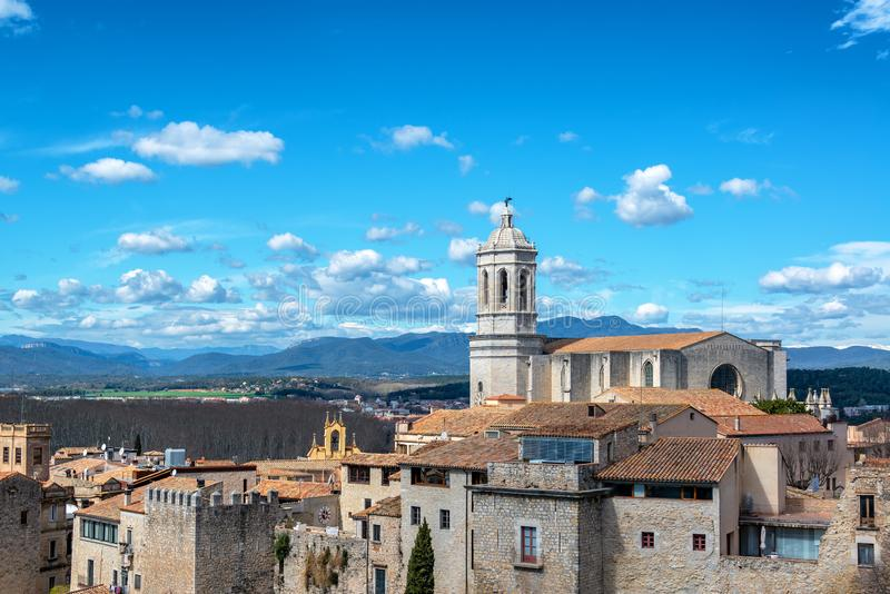 Härlig domkyrka av Girona, Spanien royaltyfri fotografi