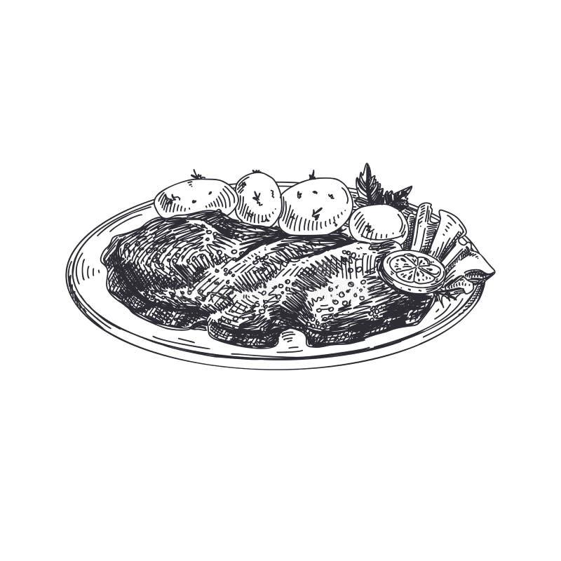 Härlig dragen österrikisk matillustration för vektor hand stock illustrationer