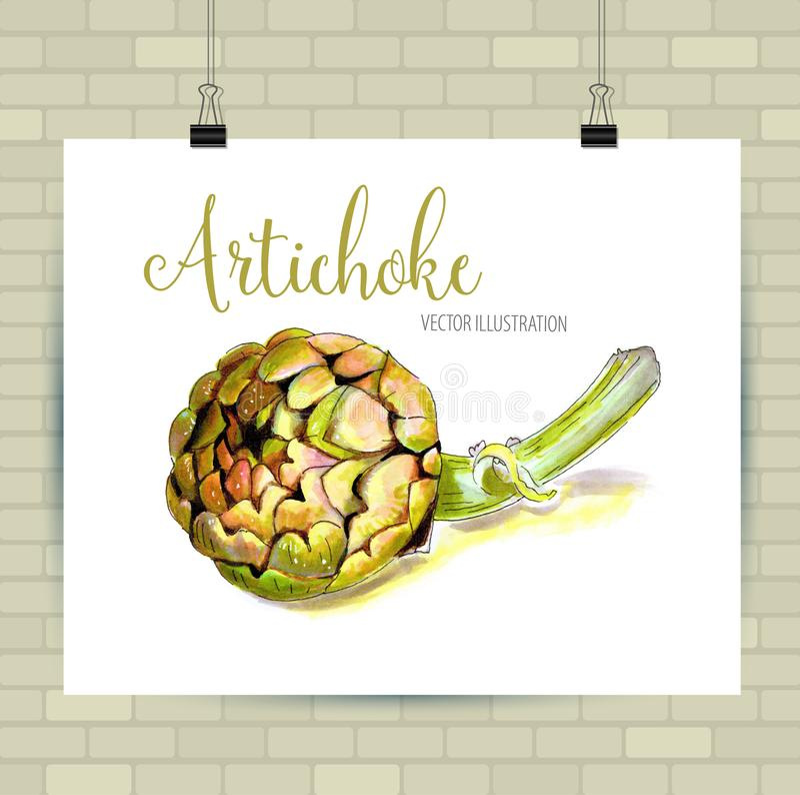 Härlig dragen grönsakillustration för vektor hand Kronärtskockabilden, skissar beståndsdelen för etiketter, att förpacka och kort royaltyfri illustrationer