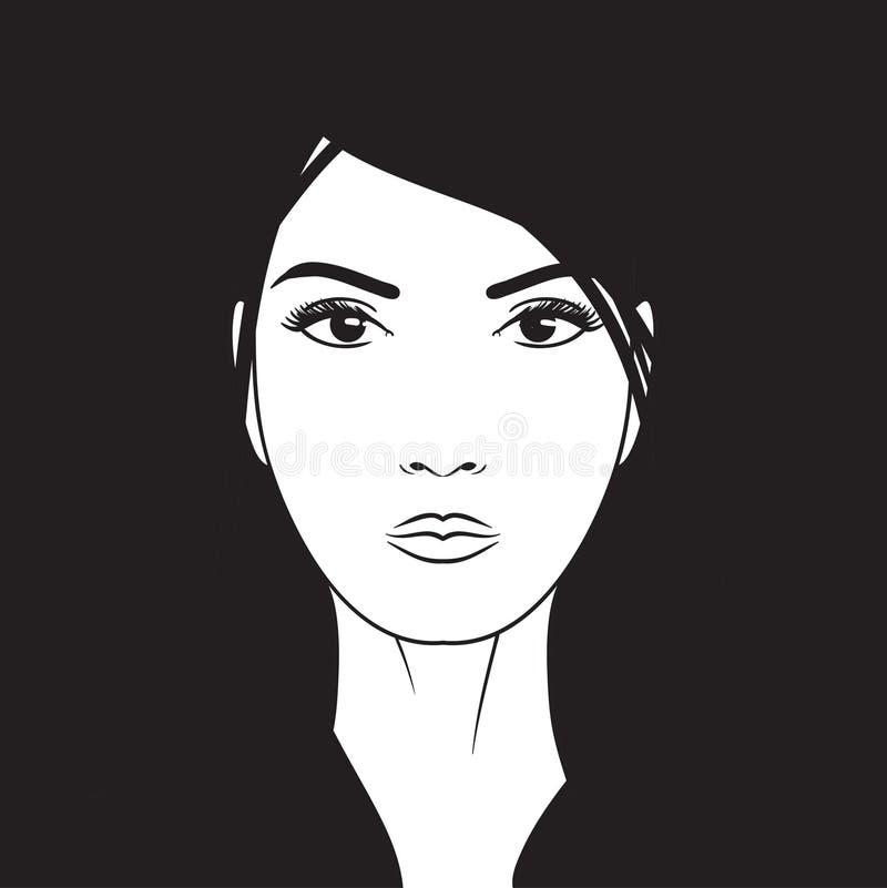 Härlig dragen illustration för kvinnavektorstående hand royaltyfri illustrationer