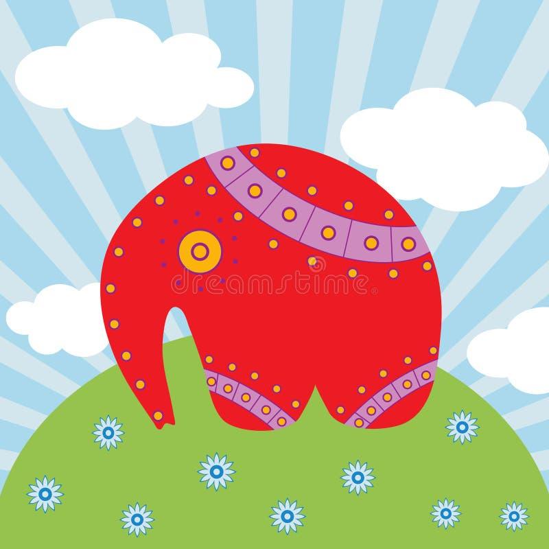 härlig elefantred för bakgrund stock illustrationer