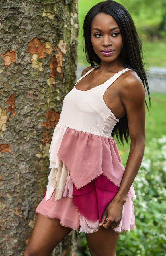 Härlig elegant afrikansk amerikankvinna arkivbild
