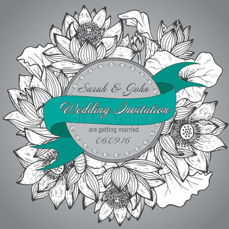 Härlig elegant bröllopinbjudan med grafiska lotusblommablommor stock illustrationer