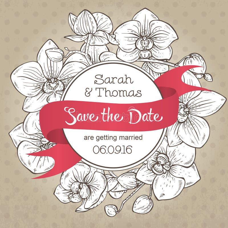 Härlig elegant bröllopinbjudan med orkidéblommor royaltyfri illustrationer